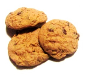 Cookies Policy, Uses and Disabling, Contacts, Information and Updates Three Chocolate Chip Cookies, white back ground